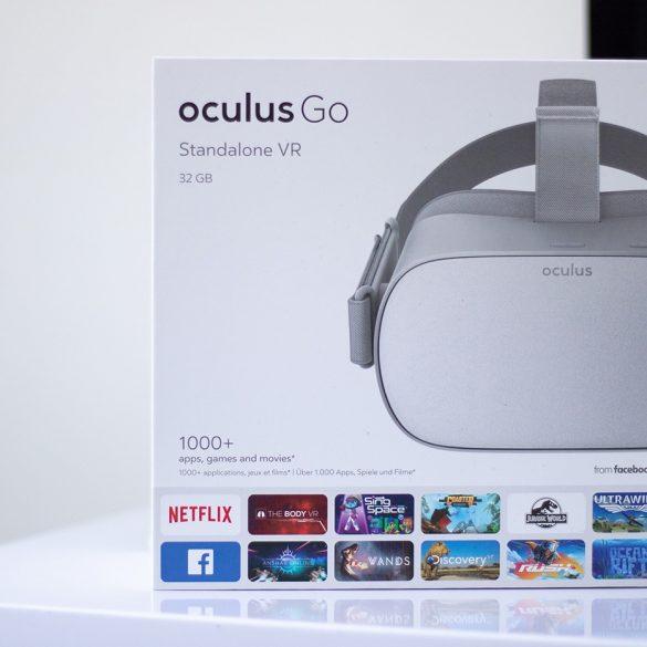 Oculus Go Front of box on white desk.