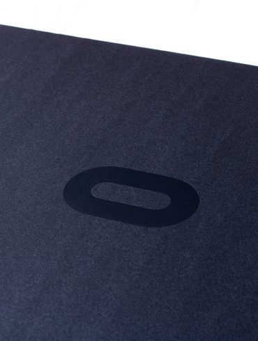 "Oculus Rift box with black ""O"" logo"