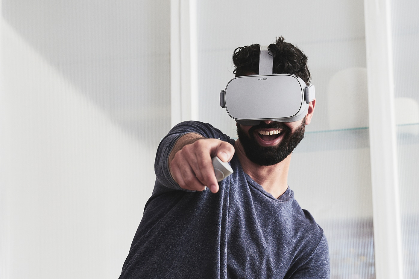 Man wearing Oculus Go