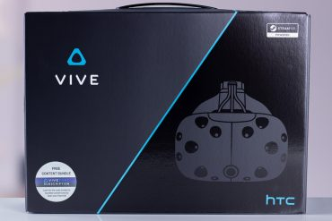 Front view of the HTC Vive VR headset retail box.