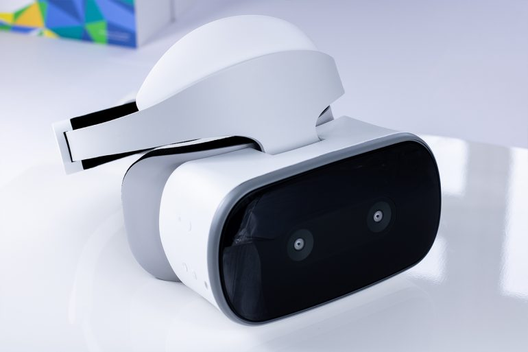 Standalone shot of the Lenovo Mirage Solo Virtual Reality headset.