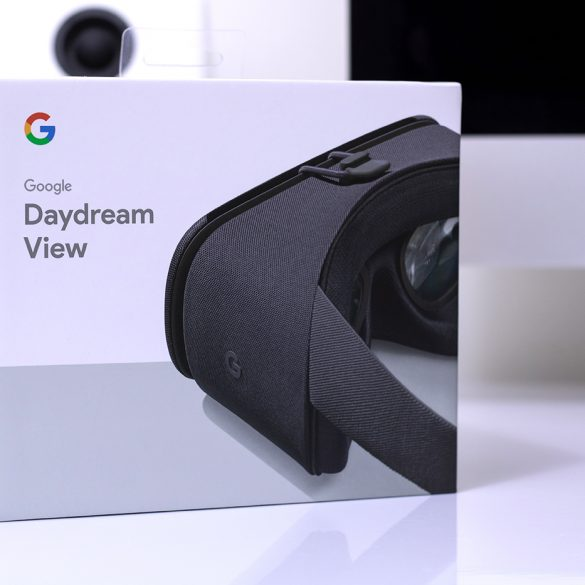 Google Daydream View VR headset box on desk at an angle, facing the front.
