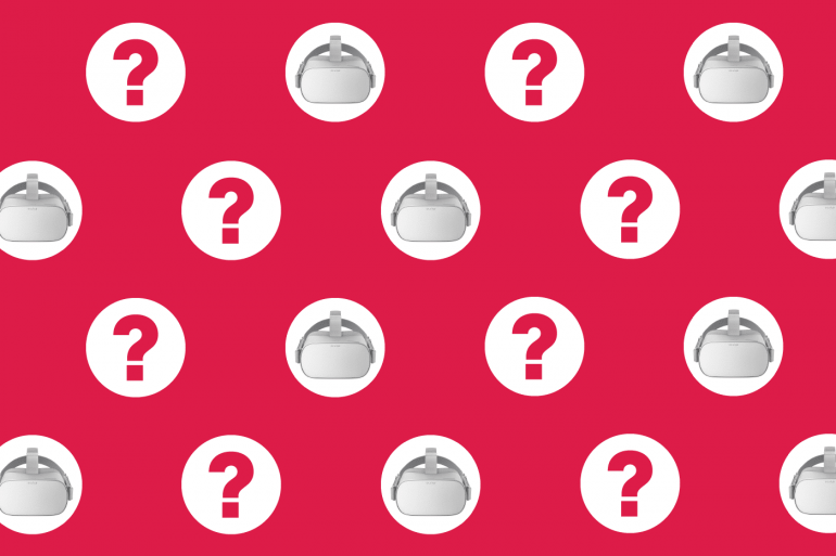 Oculus Go Frequently Asked Questions with question marks on red pattern.