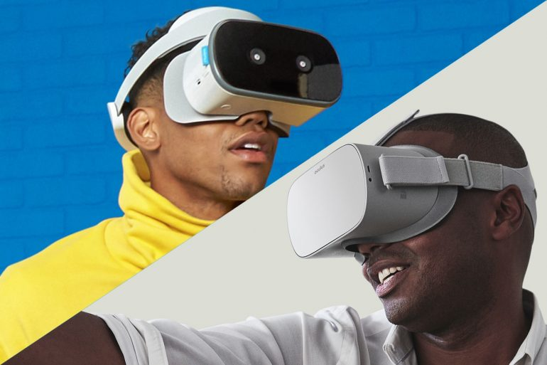 Oculus Go vs Lenovo Mirage Solo - Men wearing Oculus Go and Lenovo Mirage Solo VR headsets.