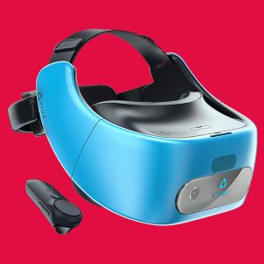 The Vive Focus VR Headset on a red background with controller.