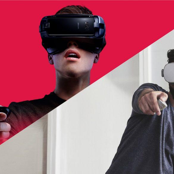 Samsung Gear VR vs Oculus Go, each headset worn by a man.