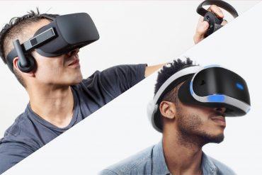 Oculus Rift vs Sony PlayStation VR (PSVR) - Men wearing VR headsets.