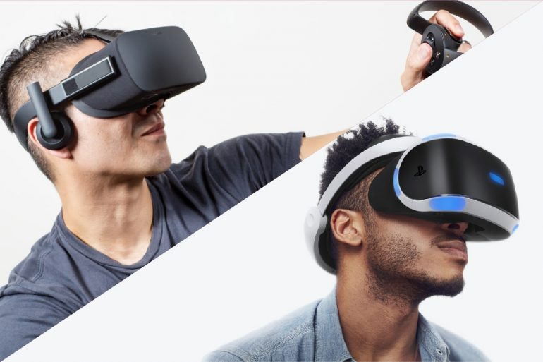 Oculus Rift vs Sony PlayStation VR (PSVR) - Men wearing VR headsets.