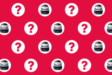 Sony PlayStation VR FAQ - PSVR and Question Marks on Red Background.