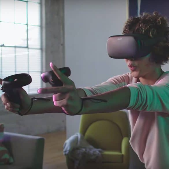 Oculus Quest on Woman showing hand control